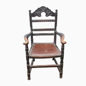Oak Carved Side Armchair, Brittany, 1900s
