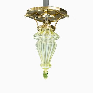Art Deco Ceiling Lamp with Opaline Glass Shade, 1918