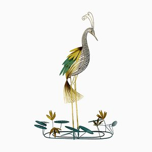 Hollywood Regency Brass Wall Sculpture Silver Heron Bird by Curtis Jere for Artisan House, 1987
