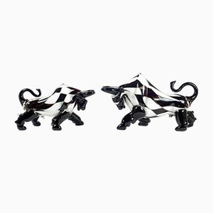 Vintage Postmodern Style Murano Glass Bulls with Checkered Pattern, Set of 2