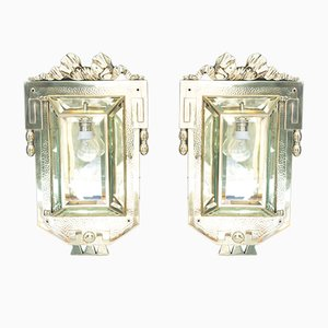 Large Antique Jugendstil Wall Lights with Cut Glass, Vienna, 1910, Set of 2