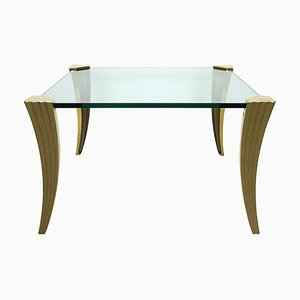 Hollywood Regency Square Coffee Table in Glass and Brass by Peter Ghyczy, 1970s