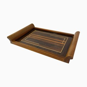 French Art Deco Tray in Inlaid Lemon Wood, 1930s