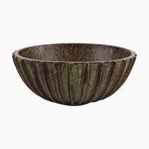 Large Bowl with Fluted Corpus Decorated with Brown Speckled Glaze by Arne Bang, 1930s