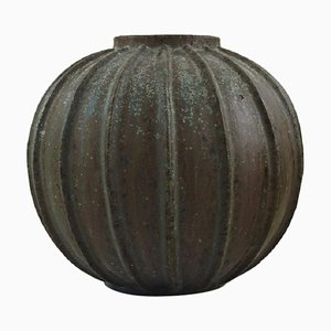 Art Deco Spherical Shaped Vase of Stoneware in Fluted Style by Arne Bang, 1940s