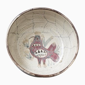 Mid-Century French Ceramic Decorative Bowl by Gustave Reynaud for Le Mûrier, 1950s