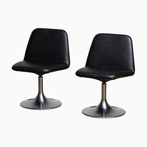 Black Vinga Swivel Slipper Chairs by Börje Johanson, Sweden, 1970s, Set of 2