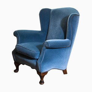 Hollywood Regency Blue Velvet Wingback Club Lounge Armchair, Sweden, 1920s