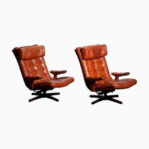 Cognac Leather Swivel Lounge Chairs by Göte Design Nässjö, 1960, Set of 2