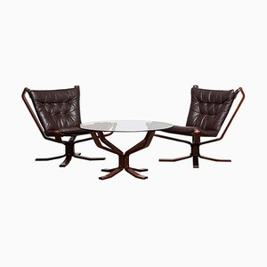 Brown Leather Falcon Chairs & Coffee Table by Sigurd Resell, 1970s, Set of 3