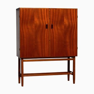 Mid-Century Slim Mahogany Dry Bar Cabinet from Forenades Mobler, Sweden, 1952