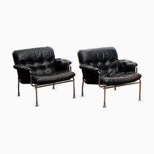 Eva Lounge Chairs in Chrome and Aged Black Leather by Pethrus Lindlöf, 1960s, Set of 2