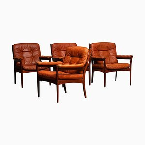 Cognac Leather Easy Chairs from Göte Möbler, Sweden, 1960s, Set of 4