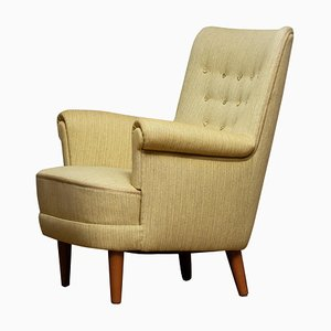 Grüner Samsas Sessel von Carl Malmsten für Oh Sjogren, 1950er