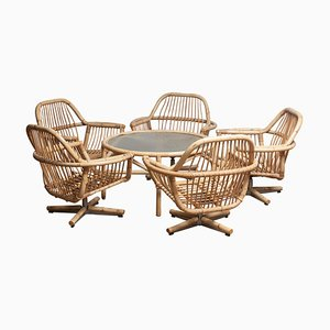 Rattan Garden or Lounge Set, 1960s, Set of 6