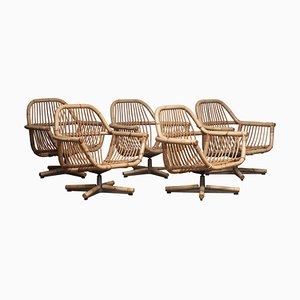 Scandinavian Rattan Garden or Lounge Set, 1960s, Set of 6
