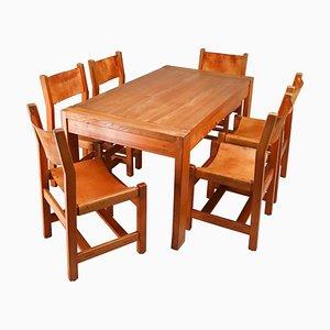 Grande Table & Chaises Extensibles en Orme & Cuir Cognac, France, 1960s, Set de 7