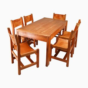Large Extendable Table & Chairs in Elm & Cognac Leather, France, 1960s, Set of 7
