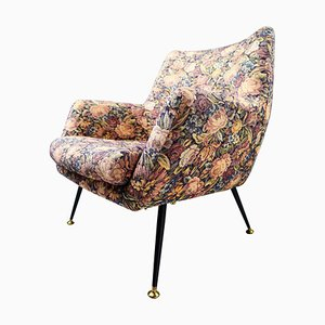 MId-Century Italian Armchair in Wool Floral Fabric, 1950s
