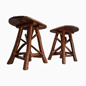 Primitive Stools or Side Tables, France, 1900s, Set of 2