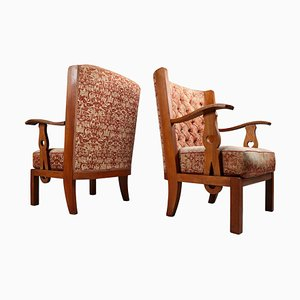 Sculptural Orkney Style Armchairs, France, 1940s, Set of 2