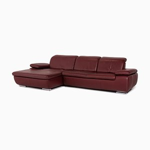 Burgundy-Red Leather Clair Corner Sofa Set from Mondo