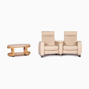 Beige Leather Arion Cinema Function Sofa & Stool from Stressless, Set of 2