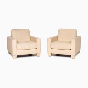 Cream Leather DS 17 Armchairs from de Sede, Set of 2
