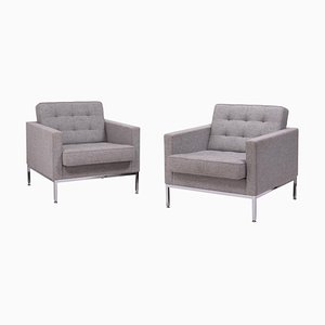 Grey Wool Armchairs by Florence Knoll, Set of 2