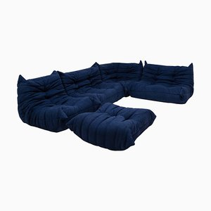 Togo Blue Modular Sofa and Footstool by Michel Ducaroy for Ligne Roset, 1970s, Set of 5