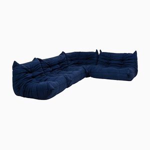 Togo Blue Modular Sofa by Michel Ducaroy for Ligne Roset, 1970s, Set of 4