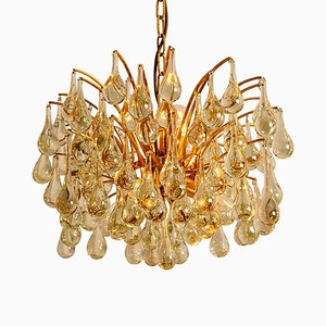 Large Brass and Crystal Chandeliers by Ernst Palme, Germany, 1960s, Set of 2