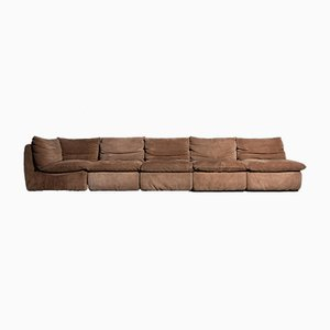 Vintage Element Sofa in Brown Suede, 1970s