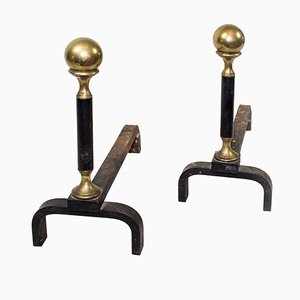 Antique Iron and Brass Andirons, Set of 2