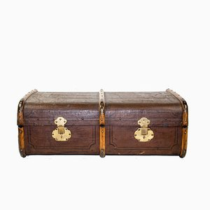 Brauner Vintage Leinen Koffer