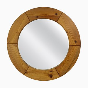 Mid-Century Modern Round Wooden Wall Mirror from AB Markaryd