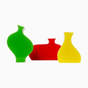Vintage Colorful Stylized Plexiglass Vases from Villeroy & Boch, Set of 3