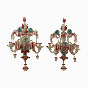 19th Century Murano Glass Wall Sconces, Set of 2