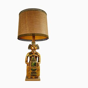 Mid-Century Ceramic Floor or Table Lamp in Mystic and Majestic Mayan Style