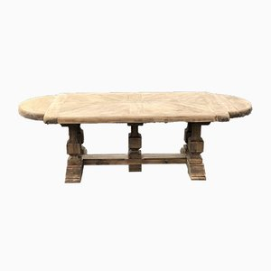 Large Antique French Bleached Oak Farmhouse Refectory Dining Table