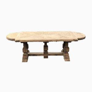 Tavolo da refettorio antico in rovere sbiancato, Francia