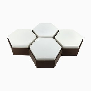 Mid-Century Modern Hexagon Sconces or Flush Mounts from Raak, Set of 4