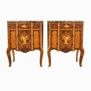 French Inlaid Nightstands with Marble Top, 1970s, Set of 2
