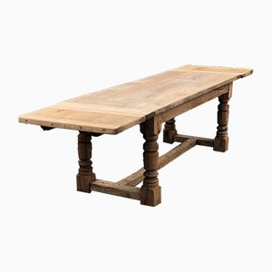 Mid-19th Century French Rustic Bleached Oak Farmhouse Dining Table with Extensions