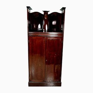 Antique Mahogany Corner Cabinet with Inlaid Intarsia