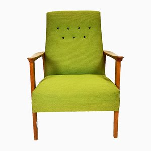 Mid-Century Modern Armchair in Apple Green Upholstery, 1970s