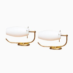 Italian Brass Wall lights with Opaline Shades from Stilnovo, 1950s, Set of 2