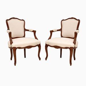 French Walnut Salon Armchairs, 1920s, Set of 2