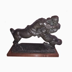 Vintage Bronze Fight of Centaurs Sculpture by Ettore Tinto
