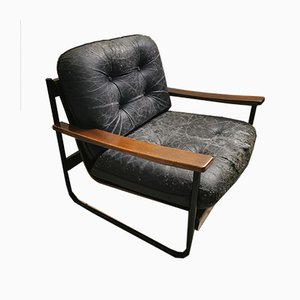 Italian Bauhaus Style Bentwood Armchair with Black Leather Cushion, 1960s